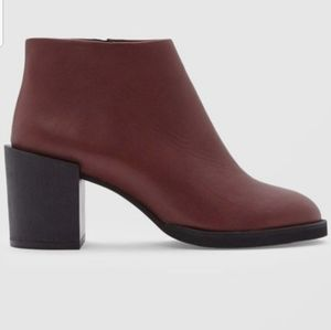 COS Block-Heel Burgandy Leather Ankle Boot Size8.5
